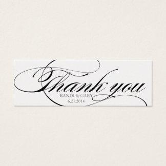 Beautiful script font Thank you favor tag Mini Business Card