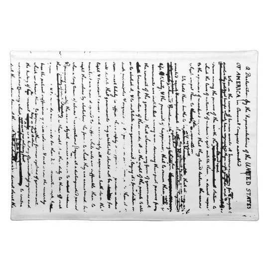 Beautiful script from 1776 draught by Jefferson Placemat
