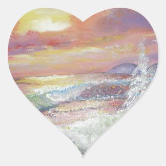 "Beautiful Seascape 18x24"" canvas oil Heart Sticker"