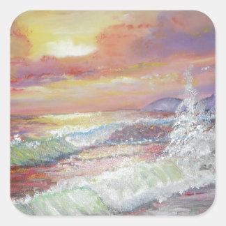 """Beautiful Seascape 18x24"""" canvas oil Square Sticker"""