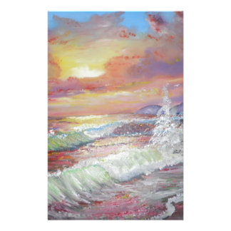 "Beautiful Seascape 18x24"" canvas oil Stationery"