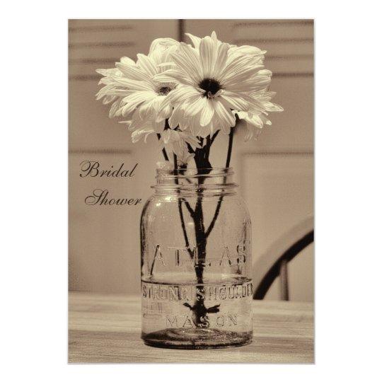 Beautiful Sepia Mason Jar & Daisies Bridal Shower Card