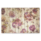Beautiful Shabby Chic Vintage Flowers On Barn Wood Tissue Paper
