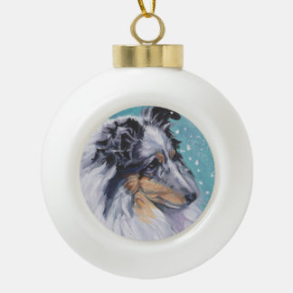 Beautiful Sheltie Shetland Sheepdog Fine Art Ceramic Ball Decoration
