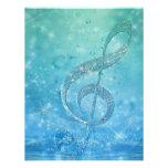 Beautiful shining effect blue treble clef custom invitations