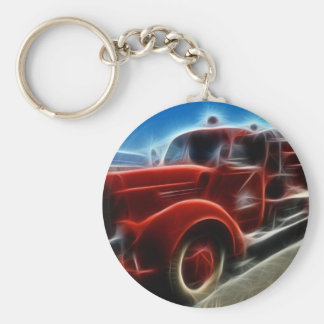 Beautiful Shiny Antique Red Fire Truck Art Basic Round Button Key Ring