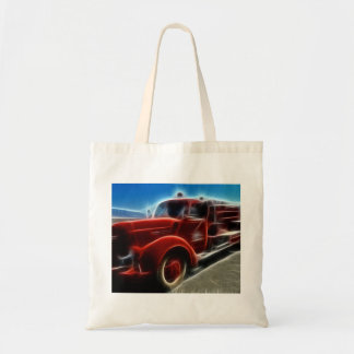 Beautiful Shiny Antique Red Fire Truck Art Budget Tote Bag