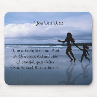 Beautiful Silhouette Mother & Daughter at Beach Mouse Pad