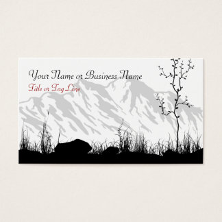 Beautiful Silhouette Mountains Black, White, Red Business Card