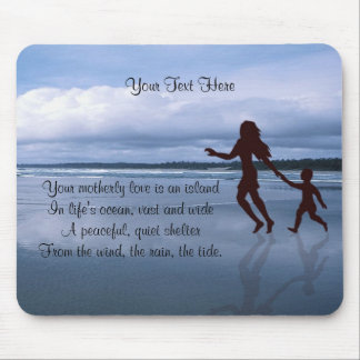 Beautiful Silhouette of Mother & Son at the Beach Mouse Pad