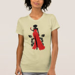 Beautiful silhouette of young woman with wineglass shirt