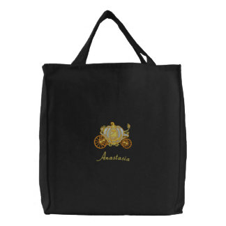 Beautiful Silver And Gold Pumpkin Carriage Embroidered Tote Bag