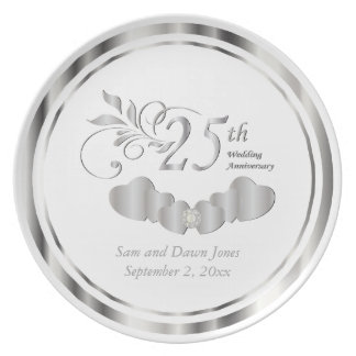 Beautiful Silver and White Anniversary Keepsake Plate