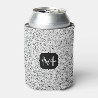 Beautiful Silver glitter sparkles Monogram Can Cooler