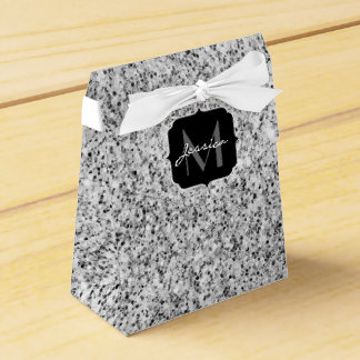 Beautiful Silver glitter sparkles Monogram Favour Box