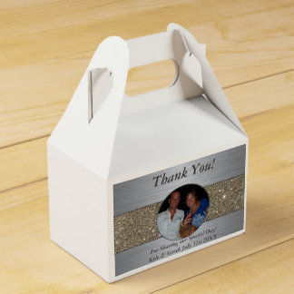 Beautiful Silver & Gold Picture Favor Boxes Party Favour Box