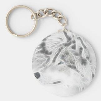 Beautiful Silver Wolf Basic Round Button Key Ring