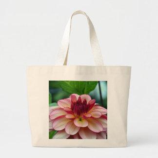 Beautiful single pink dahlia flower canvas bag