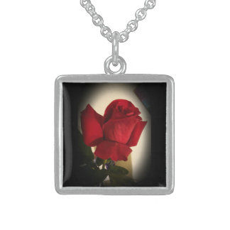 Beautiful Single Red Rose Sterling Silver Necklace