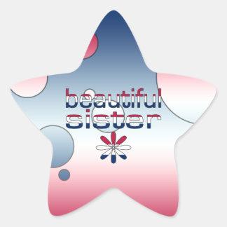 Beautiful Sister America Flag Colors Pop Art Star Sticker