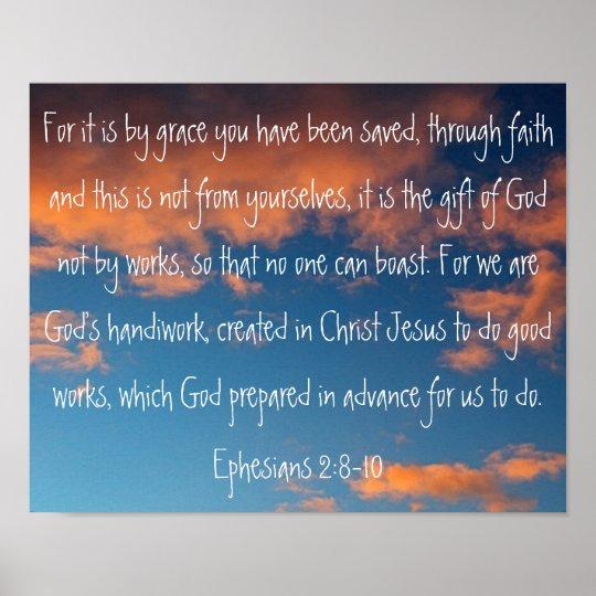 beautiful sky bible verse Ephesians 2:8-10 Poster