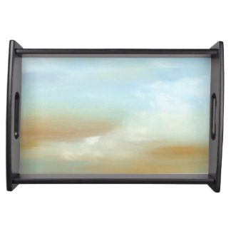 Beautiful Skyscape with Fluffy Clouds Serving Tray