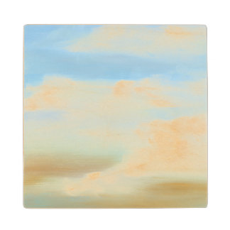 Beautiful Skyscape with Fluffy Clouds Wood Coaster