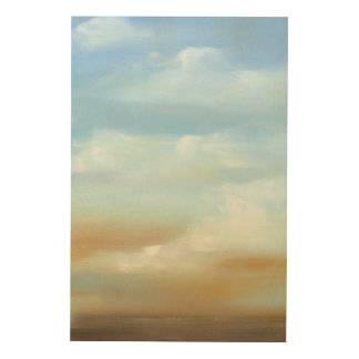Beautiful Skyscape with Fluffy Clouds Wood Wall Art