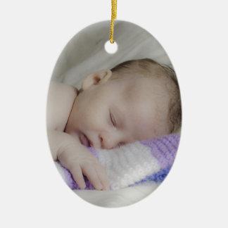 Beautiful Sleeping Newborn Baby Ceramic Oval Decoration