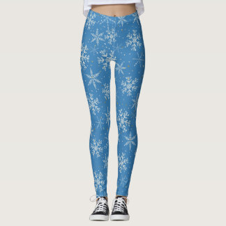 Beautiful Snowflakes on Blue Pattern Leggings