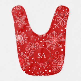 Beautiful Snowflakes on Red Background Christmas Bib