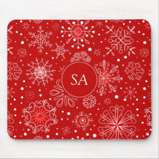 Beautiful Snowflakes on Red Background Christmas Mouse Mat