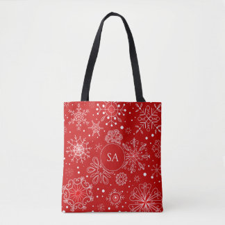 Beautiful Snowflakes on Red Background Christmas Tote Bag