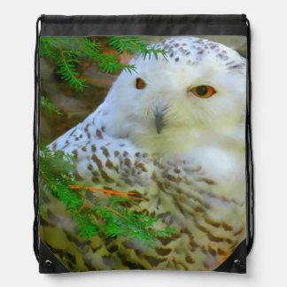 Beautiful Snowy Owl Drawstring Backpack