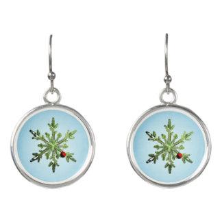 Beautiful Snowy Pine Snowflake Christmas Earrings