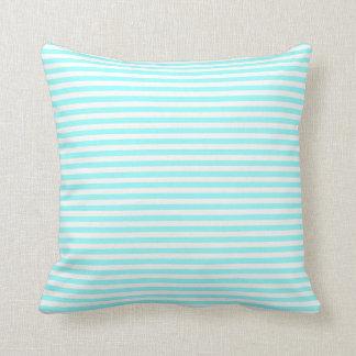 Beautiful Soft Aqua & White Striped Beachy Pillow