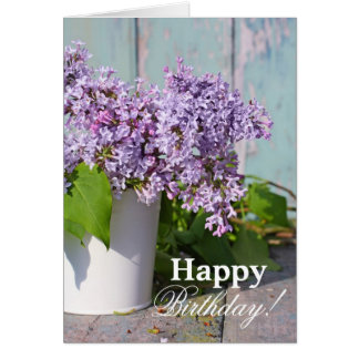 Beautiful , soft lilac in a white vase greeting card