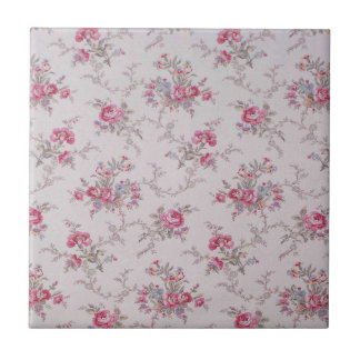 Beautiful soft vintage roses and leaves small square tile