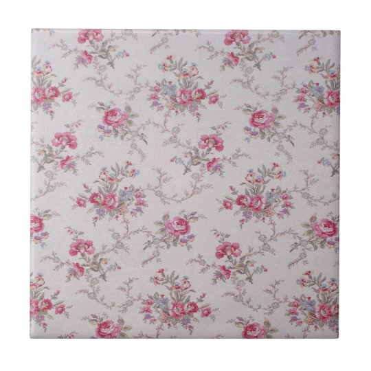 Beautiful soft vintage roses and leaves tile