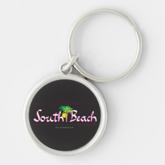 Beautiful South Beach -T-shirt, FL Silver-Colored Round Key Ring