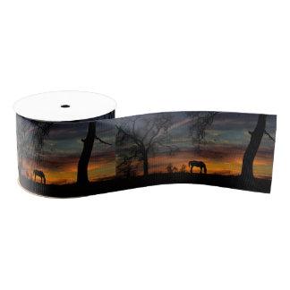 Beautiful Southwestern Sunset and Horse Ribbon Grosgrain Ribbon