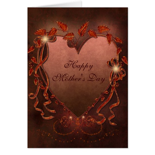 Beautiful Sparkle Heart Mother's Day Card