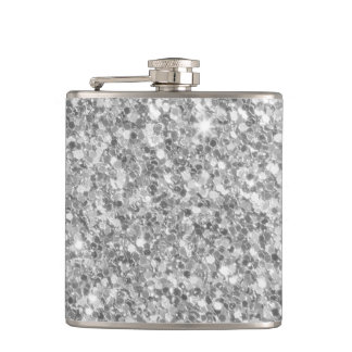 Beautiful Sparkle Silver Gray Glitter Pattern Hip Flask