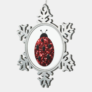 Beautiful Sparkling red sparkles Ladybird Ladybug Snowflake Pewter Christmas Ornament