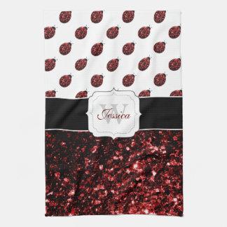 Beautiful Sparkling red sparkles Ladybugs Monogram Towel