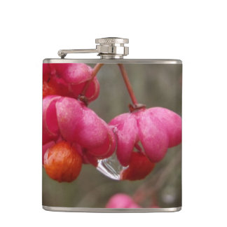 Beautiful Spindle Fruit And Rain Drops Flask