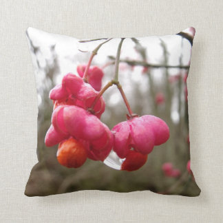 Beautiful Spindle Fruit And Rain Drops Throw Cushion