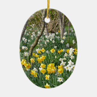 Beautiful spring daffodil garden christmas ornament