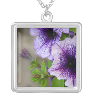 Beautiful spring flowers purple silver plated necklace
