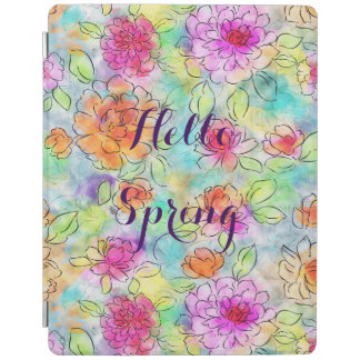 Beautiful  spring flowers watercolor paint iPad cover
